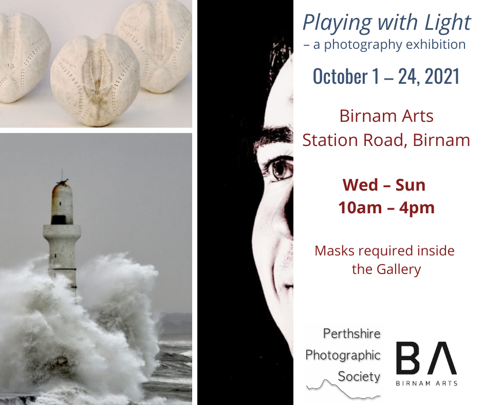 Playing with Light exhibition at Birnam Arts, October 1-24, 2021
